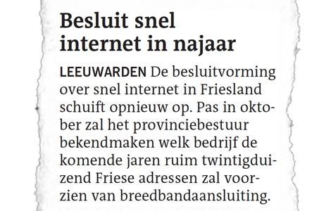 Opnieuw uitstel snel internet Friesland